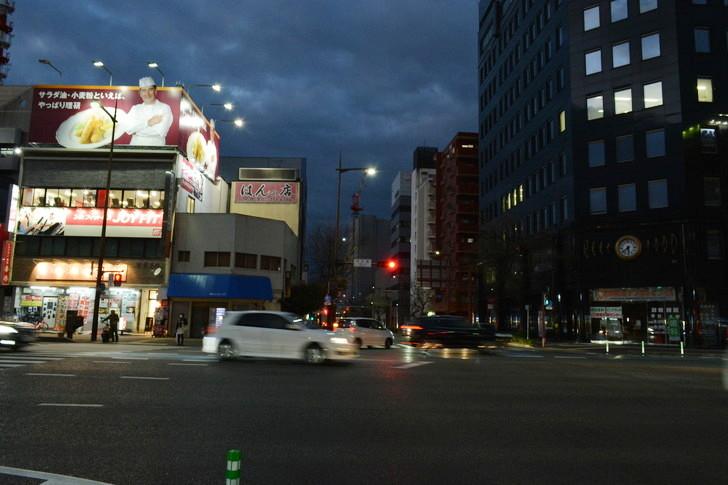【福岡散歩日誌7】夕方の「舞鶴・赤坂辺り」を散歩【12月】:大正通りと昭和通りの交差点