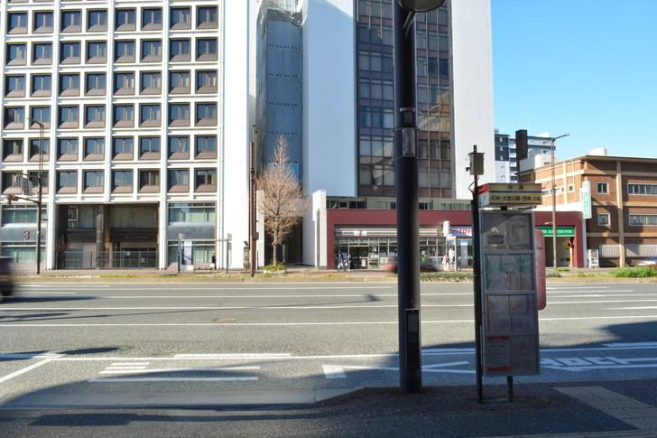 【福岡散歩日誌8】昼の昭和通り「天神橘口交差点~博多川通り」を散歩【12月】:中州バス停