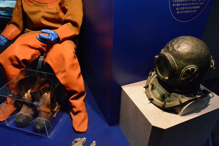 「マリンワールド」と「志賀島」を散歩:潜水服