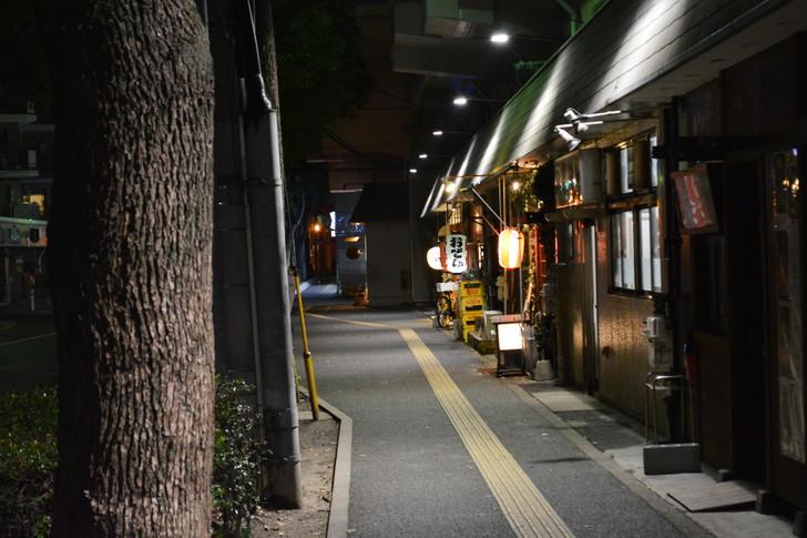 「日赤病院前(日赤通り)」と「高宮駅」近くの飲食店街を散歩【1月】:高宮駅近くの居酒屋とかが並んでる通り