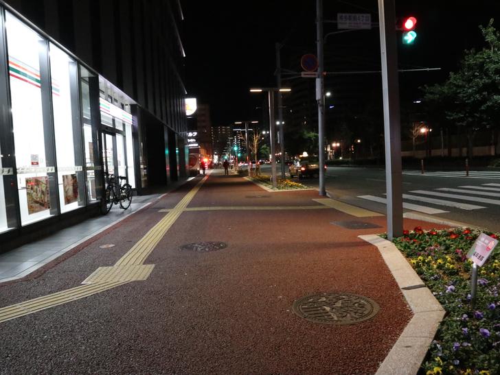 キレイで開放的な景観、都会感を楽しめる「博多駅~サンロード商店街」までを散歩:歩道