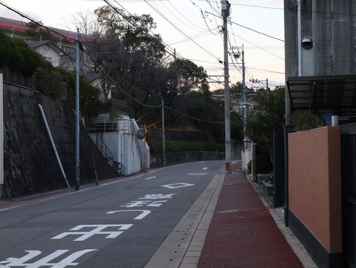 """霊園周りのちょっと不思議な空間「福岡市中央区""""平和""""」を散歩:住宅街の道路"""