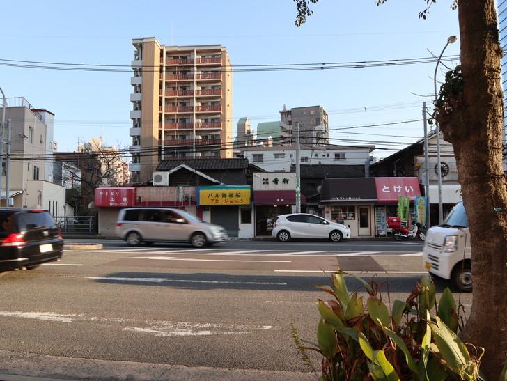 落ち着いた雰囲気の裏道「平尾(山荘通)~薬院大通付近」を散歩:スタート地点(山荘通り)