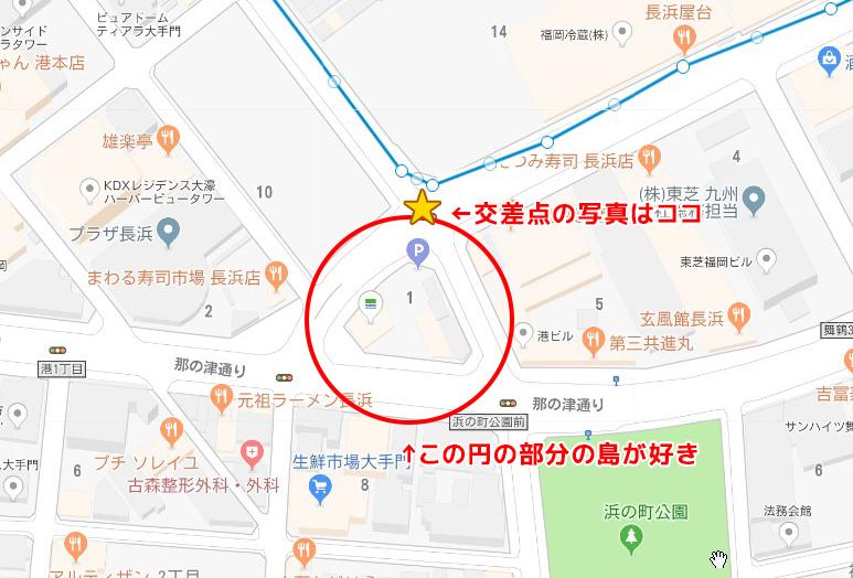 長浜交差点付近のマップ