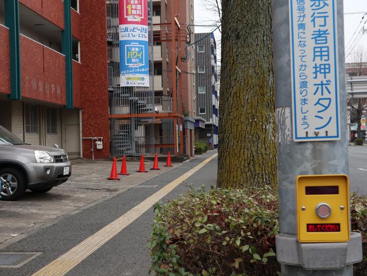 区役所周りの落ち着いた通り「福岡市南区塩原」をゆったり散歩:押しボタン(キレイめ)