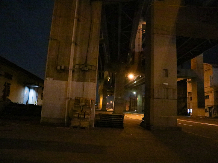 癒される異空間「深夜の須崎ふ頭」を散歩:高架下