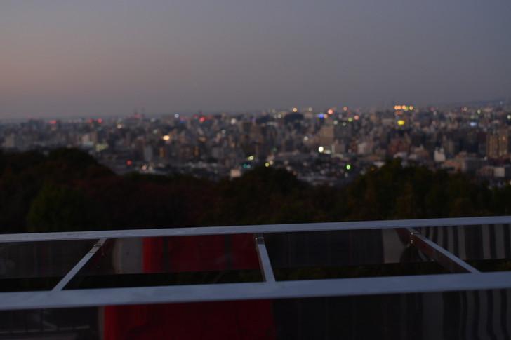 キレイな都会の風景と、それを単なる背景にしてしまう程に強力な手すり