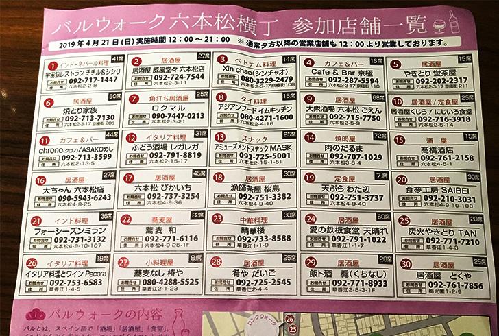 300円でフードが楽しめる?!「六本松バルウォーク Vol.8」が最高だった!:イベントフライヤー(裏面:上部)