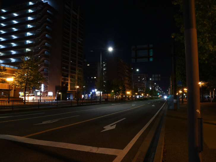 【ベイサイドプレイス博多(深夜)】やっぱり夜の海は良い: シンプルに美しい道路