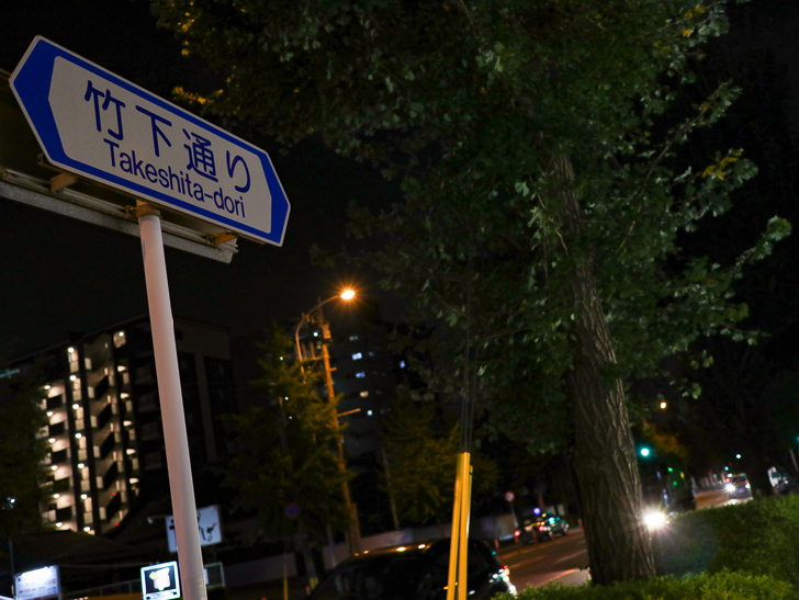 「竹下通り」の案内板
