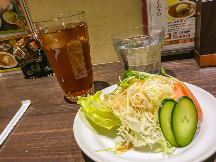 サラダと紅茶(アイス)