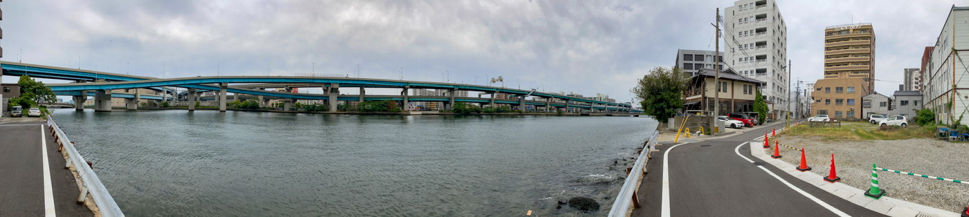 小笹川、福岡環状線道路どのパノラマ写真