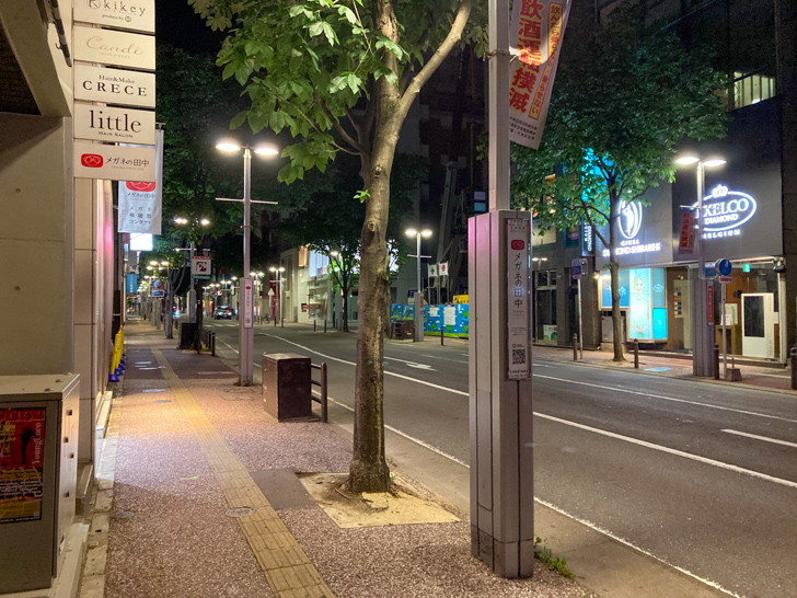国体道路寄りの所。深夜2時はさすがに人は少ない